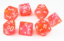 Load image into Gallery viewer, Chessex Dice - Lab Dice: Poly Set Dahlia/White (7)