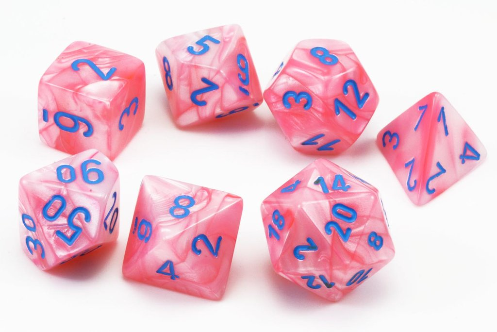 Chessex Dice - Lab Dice: Poly Set Lustrous Pink/Blue (7)
