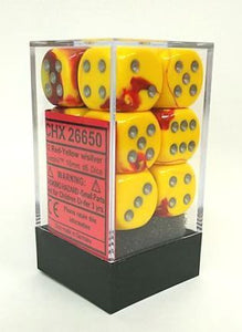 Chessex Dice - Gemini: 16mm d6 Red-Yellow/Silver (12)