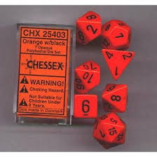 Chessex Dice - Opaque: Poly Set Orange/Black (7)