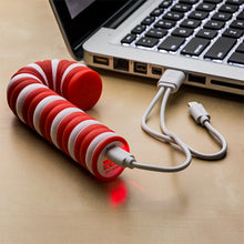 Load image into Gallery viewer, Holiday Mobile Power Bank - Candy Cane Shape - Set of 2
