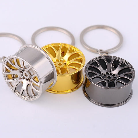 Luxury Metal Car Keychain Turbo Wheel Hub Chain Car Personality Keyring Wheel Rim Model Key Chain for Fathers Day Gift