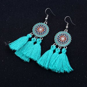 Fashion Bohemian Earrings Women Long Tassel Fringe Dangle Earrings Jewelry