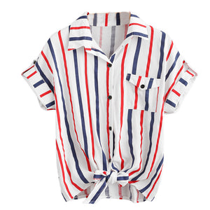 Womens Stripe Blouse Ladies  Blouses Short Sleeve Shirt Women Shirt