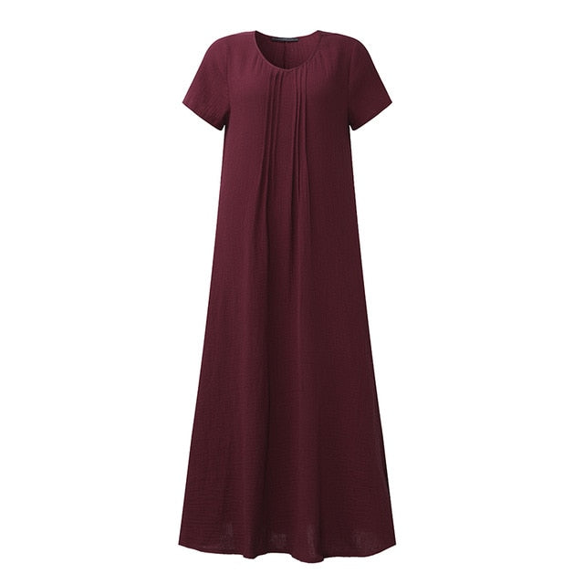Retro Solid Ankle-Length Dress