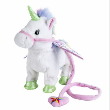 1pc Electric Walking Unicorn Plush Toy Toys, Kids & Baby / Toys & Hobbies / Stuffed & Plush Animals - shop in usa - canada - UK - Spain - France - Germany - Netherlands - Sweden - White