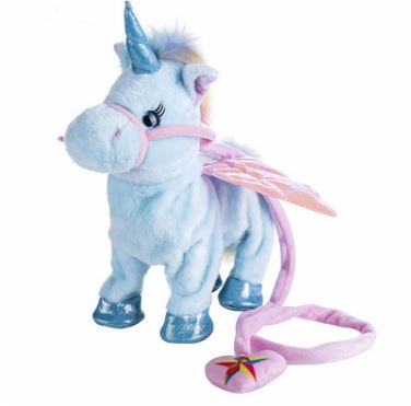 1pc Electric Walking Unicorn Plush Toy Toys, Kids & Baby / Toys & Hobbies / Stuffed & Plush Animals - shop in usa - canada - UK - Spain - France - Germany - Netherlands - Sweden - Blue