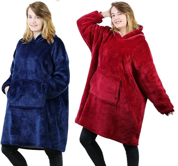 Luxurious Blanket Sweatshirt Clothing - Tops - shop in usa - canada - UK - Spain - France - Germany - Netherlands - Sweden - Red + Blue One size
