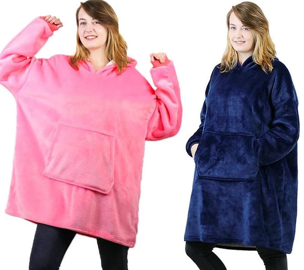 Luxurious Blanket Sweatshirt Clothing - Tops - shop in usa - canada - UK - Spain - France - Germany - Netherlands - Sweden - Pink + Blue One size