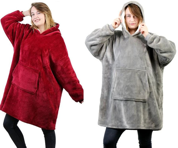 Luxurious Blanket Sweatshirt Clothing - Tops - shop in usa - canada - UK - Spain - France - Germany - Netherlands - Sweden - Red + Grey One size