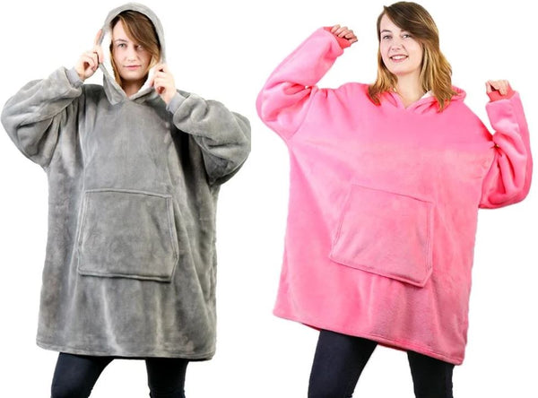 Luxurious Blanket Sweatshirt Clothing - Tops - shop in usa - canada - UK - Spain - France - Germany - Netherlands - Sweden - Pink + Grey One size