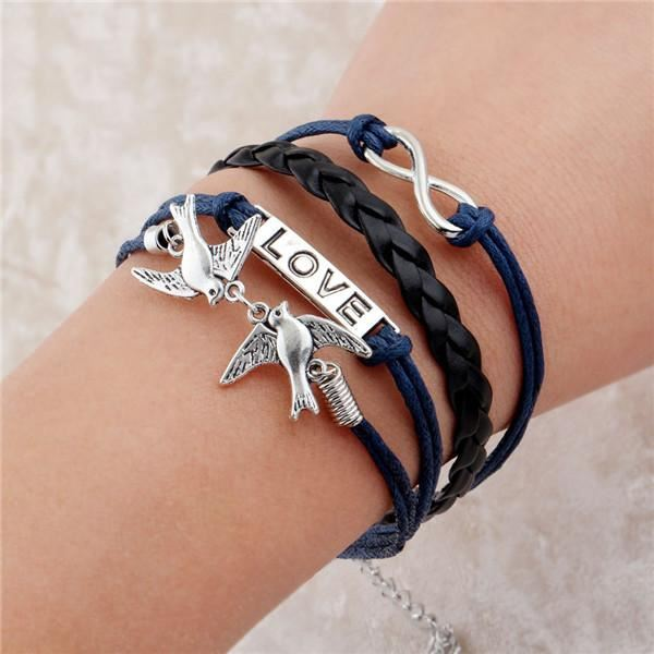 Multi-layer Leather Charm Bracelet Jewelry & Watches / Fashion Jewelry / Bracelets & Bangles - shop in usa - canada - UK - Spain - France - Germany - Netherlands - Sweden - 2pcs 1