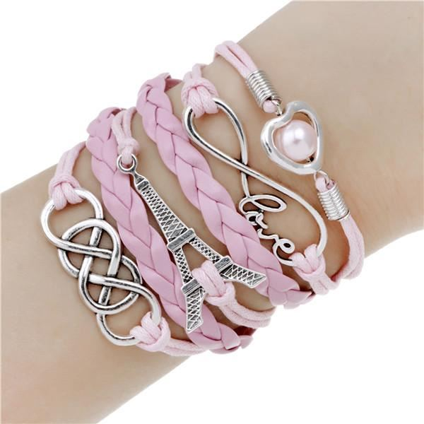 Multi-layer Leather Charm Bracelet Jewelry & Watches / Fashion Jewelry / Bracelets & Bangles - shop in usa - canada - UK - Spain - France - Germany - Netherlands - Sweden - 2pcs 16