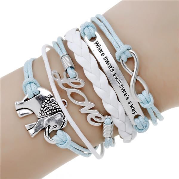 Multi-layer Leather Charm Bracelet Jewelry & Watches / Fashion Jewelry / Bracelets & Bangles - shop in usa - canada - UK - Spain - France - Germany - Netherlands - Sweden - 2pcs 17