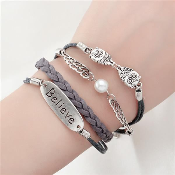 Multi-layer Leather Charm Bracelet Jewelry & Watches / Fashion Jewelry / Bracelets & Bangles - shop in usa - canada - UK - Spain - France - Germany - Netherlands - Sweden - 2pcs 7