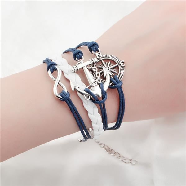Multi-layer Leather Charm Bracelet Jewelry & Watches / Fashion Jewelry / Bracelets & Bangles - shop in usa - canada - UK - Spain - France - Germany - Netherlands - Sweden - 2pcs 8