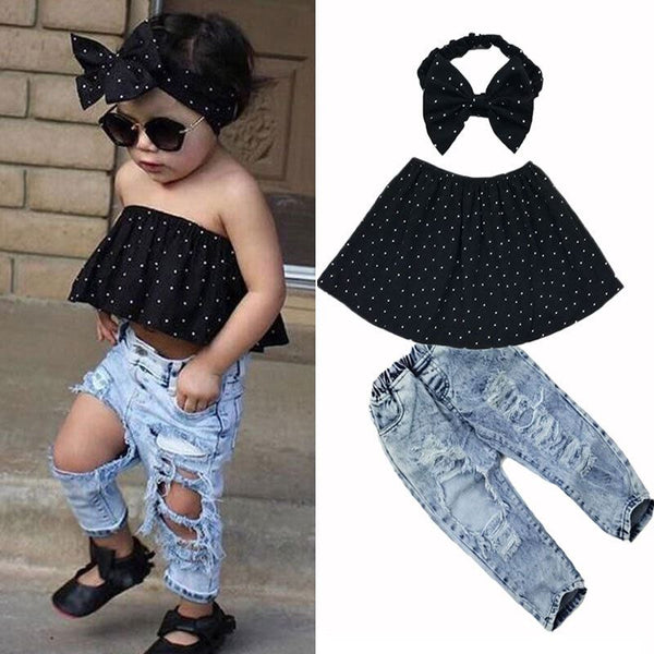 Polka dot jean set Toys, Kids & Baby / Girls Clothing / Clothing Sets - shop in usa - canada - UK - Spain - France - Germany - Netherlands - Sweden -