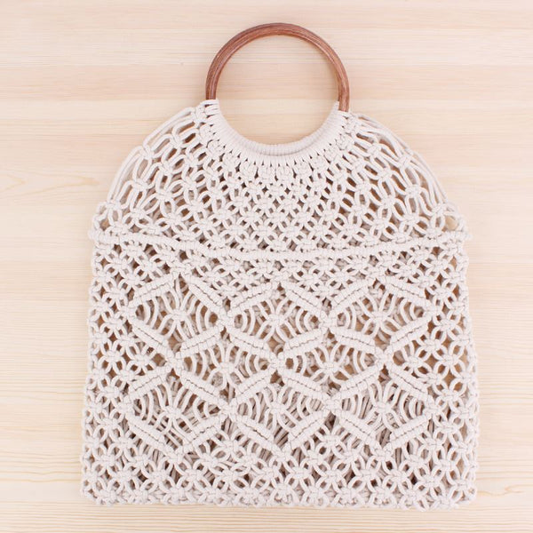 Popula Cotton Rope Hollow Straw Bag Bag & Shoes / Women's Luggage & Bags / Totes - shop in usa - canada - UK - Spain - France - Germany - Netherlands - Sweden - White + brown