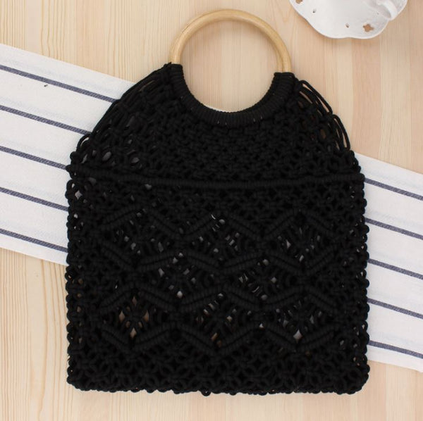 Popula Cotton Rope Hollow Straw Bag Bag & Shoes / Women's Luggage & Bags / Totes - shop in usa - canada - UK - Spain - France - Germany - Netherlands - Sweden - Black + white