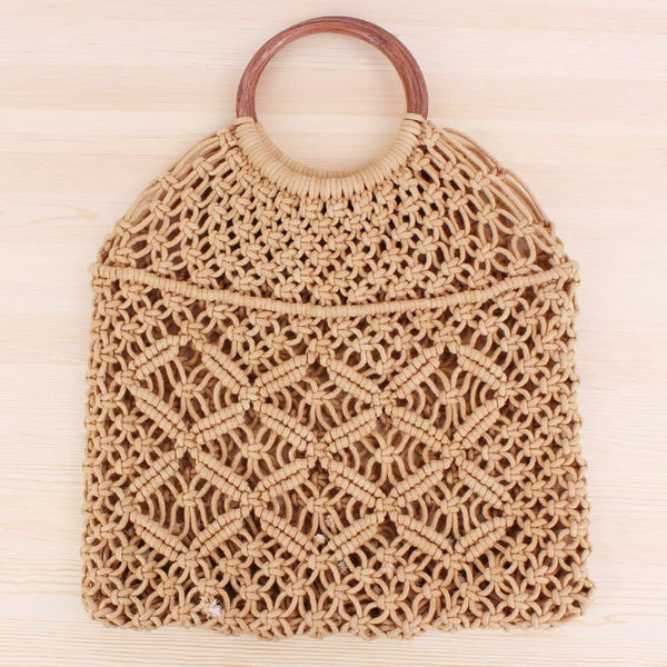 Popula Cotton Rope Hollow Straw Bag Bag & Shoes / Women's Luggage & Bags / Totes - shop in usa - canada - UK - Spain - France - Germany - Netherlands - Sweden - Camel + brown