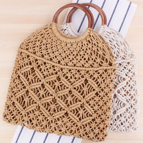 Popula Cotton Rope Hollow Straw Bag Bag & Shoes / Women's Luggage & Bags / Totes - shop in usa - canada - UK - Spain - France - Germany - Netherlands - Sweden -