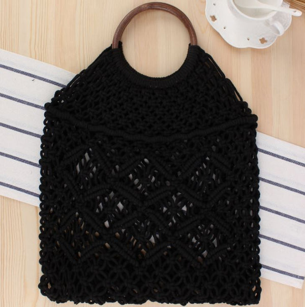 Popula Cotton Rope Hollow Straw Bag Bag & Shoes / Women's Luggage & Bags / Totes - shop in usa - canada - UK - Spain - France - Germany - Netherlands - Sweden - Black + brown
