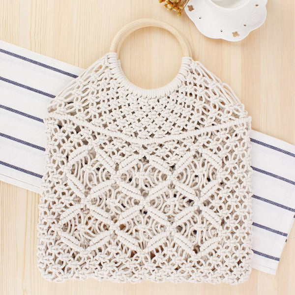 Popula Cotton Rope Hollow Straw Bag Bag & Shoes / Women's Luggage & Bags / Totes - shop in usa - canada - UK - Spain - France - Germany - Netherlands - Sweden - White + white