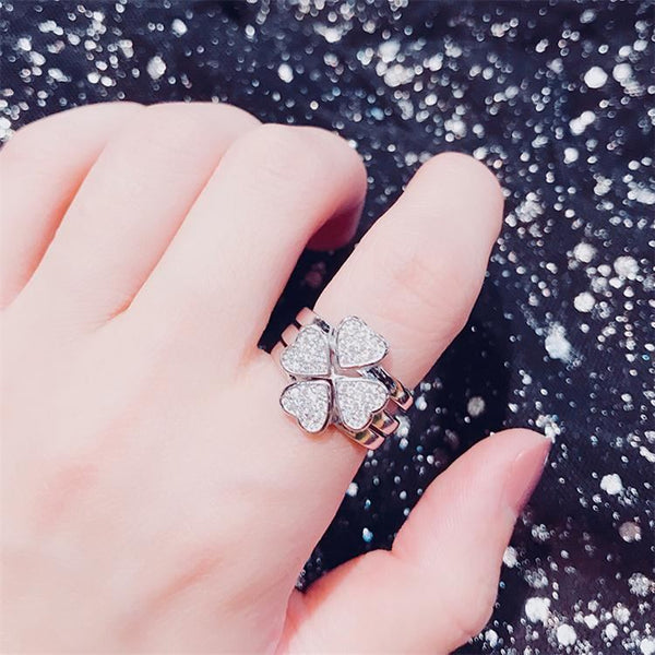 Sterling Silver Clover Ring Jewelry & Watches / Fashion Jewelry / Rings - shop in usa - canada - UK - Spain - France - Germany - Netherlands - Sweden - Silvery copper Opening adjustable
