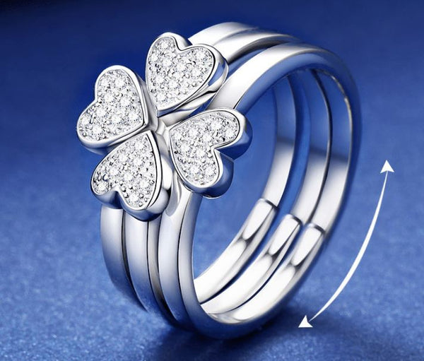 Sterling Silver Clover Ring Jewelry & Watches / Fashion Jewelry / Rings - shop in usa - canada - UK - Spain - France - Germany - Netherlands - Sweden - S925 Silver Opening adjustable