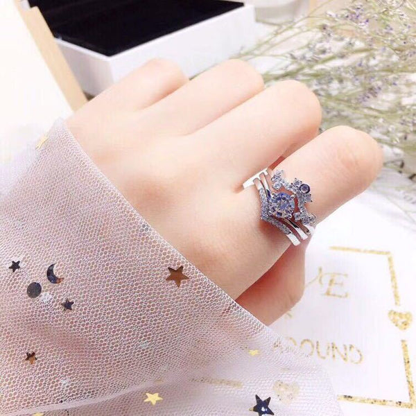 Sterling Silver Three-in-One Women's Ring Jewelry & Watches / Fashion Jewelry / Rings - shop in usa - canada - UK - Spain - France - Germany - Netherlands - Sweden -