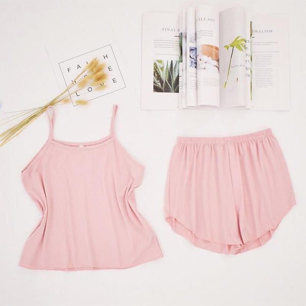 Women's pajamas vest shorts suit Women - Apparel - Lingerie and Sleepwear - Pajama Sets - shop in usa - canada - UK - Spain - France - Germany - Netherlands - Sweden - Pink M