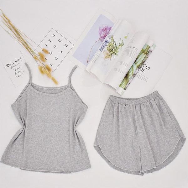 Women's pajamas vest shorts suit Women - Apparel - Lingerie and Sleepwear - Pajama Sets - shop in usa - canada - UK - Spain - France - Germany - Netherlands - Sweden - Grey XXL