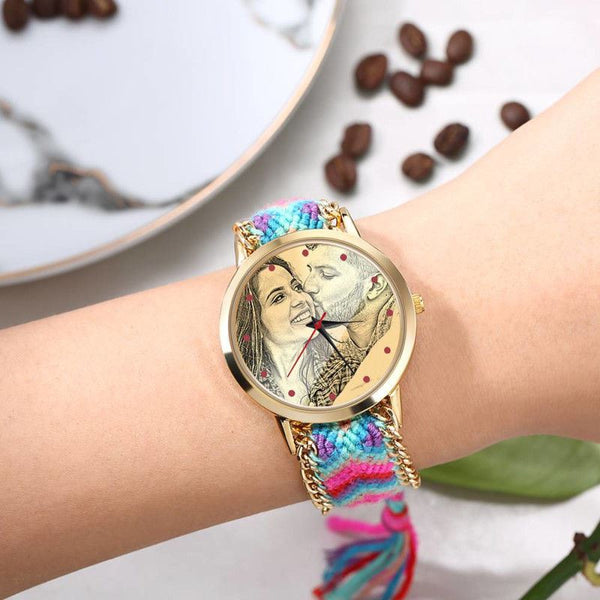 Women's Photo Engraved Accessories - Watches - shop in usa - canada - UK - Spain - France - Germany - Netherlands - Sweden - Women's Gold Photo Engraved Watch Braided Color Rope Strap