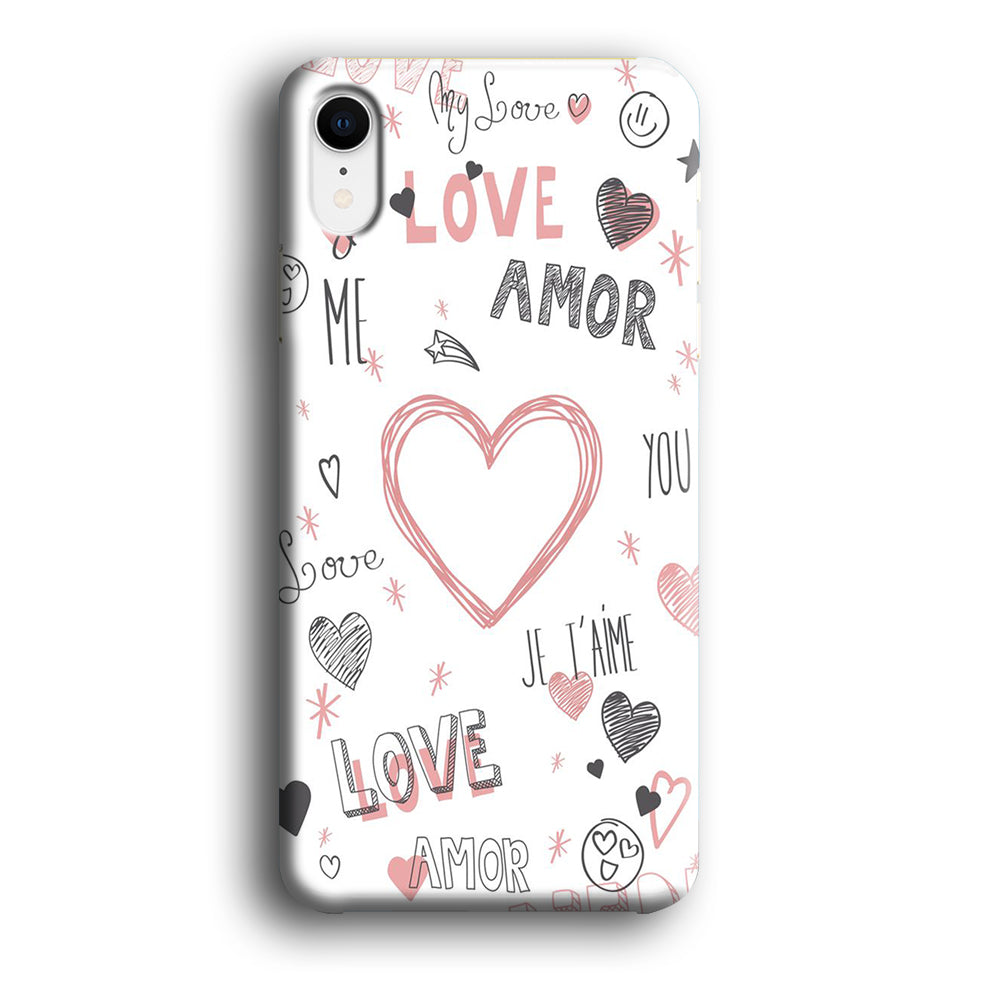 Love Doodle Word Wallpapers IPhone XR 3D Case