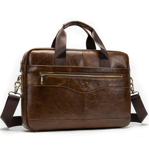 Leather Laptop Bag - Light Coffee
