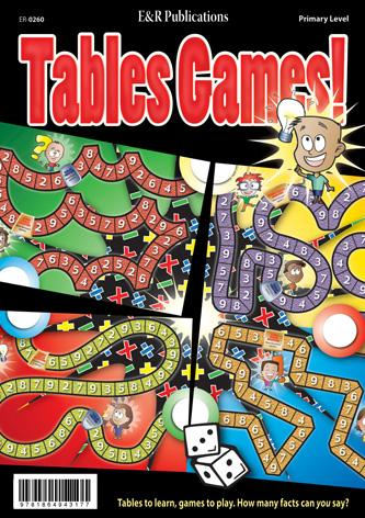 Tables Games cover showing four colourful game boards, and cute cartoon characters