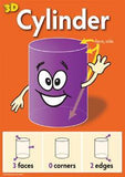 Bright purple cylinder on orange background with eager face, waving hand, and diagrams of faces, corners, edges
