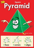Green pyramid with happy face and pointing arms on red background, with diagrams of faces, corners, and edges