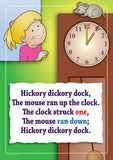 Hickory, Dickory, Dock colourful children's nursery rhyme song poster