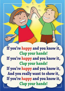 If You're Happy and You Know It colourful children's nursery rhyme song poster