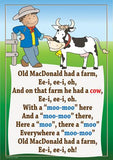 Old MacDonald Had a Farm colourful children's nursery rhyme song poster