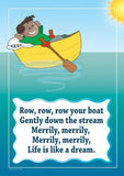 Row, Row, Row Your Boat colourful children's nursery rhyme song poster