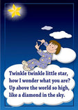 Twinkle, Twinkle, Little Star colourful children's nursery rhyme song poster