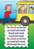 The Wheels on the Bus colourful children's nursery rhyme song poster