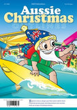 Australian Santa on a surfboard at the beach