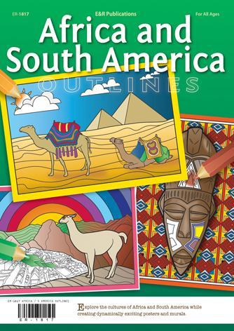 Bright illustrations on green background, camels, pyramids, llama in Peru, African mask