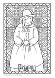 Black and white colouring in page showing girl from Peru in traditional dress, and background of traditional South American patterns