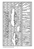 Black and white colouring in page showing trees and animals in the Serengeti, decorated with traditional patterns and zebra stripes