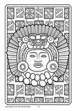 Black and white colouring in page showing ancient South American mask, on a background of traditional patterns