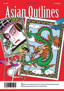 Asian Outlines colouring book, China, Japan, Korea